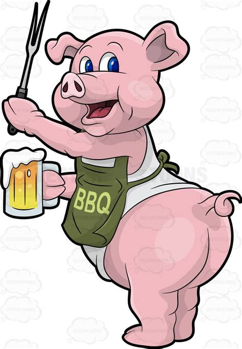 funny beer cartoon a pig cook holding a beer and bbq fork cartoon clipart
