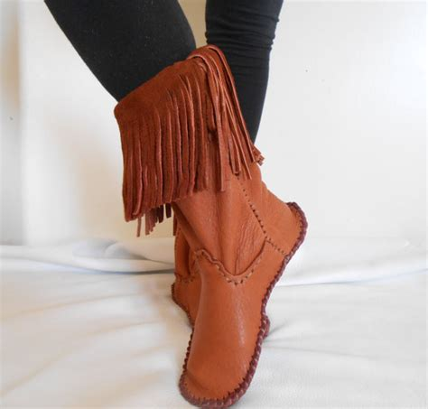 Handmade American Boots - handmade moccasin boots fringe calf height boots sewn