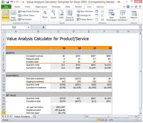 Value Analysis Calculator Template For Excel Financial Calculator Excel Template