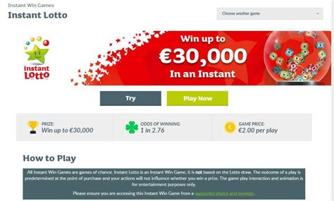 Instant Wins National Lottery - irish lotto reveal brand new game that promises punters almost one in three chance of