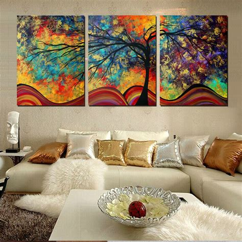 home interiors paintings large wall art home decor abstract tree painting colorful