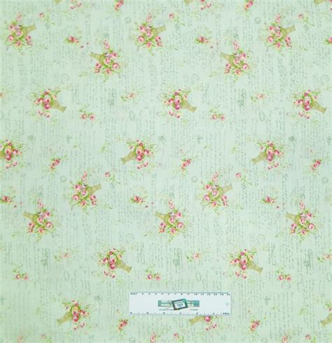Floral Patchwork Fabric - patchwork quilting fabric mint green floral sewing