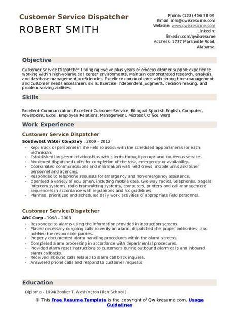 Dispatcher Resume Summary