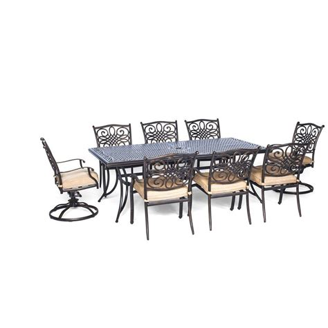 6 Chair Patio Dining Set Hanover Traditions 9 Rectangular Patio Dining Set With Six Dining Chairs Two Swivel