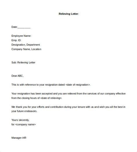 relieving letter template relieving letter format in word free letter