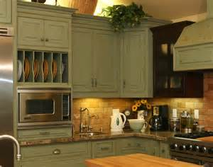 Country Green Kitchen Cabinets by Distressed Country Kitchen Cabinets