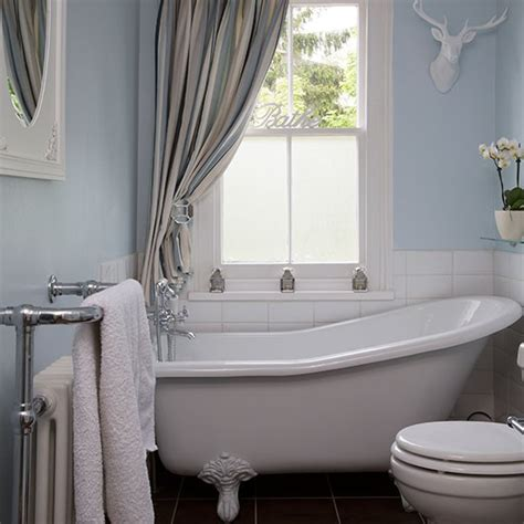 Shower Over Roll Top Bath pale blue bathroom with slipper bath bathroom decorating