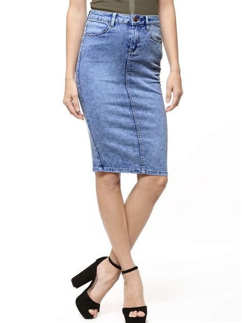 buy new look bright acid wash denim pencil skirt for