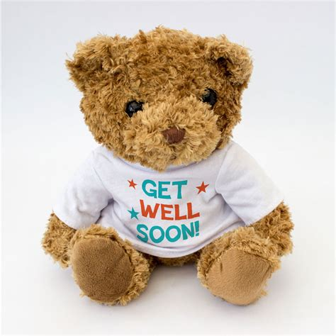 new get well soon cute and cuddly teddy bear white t