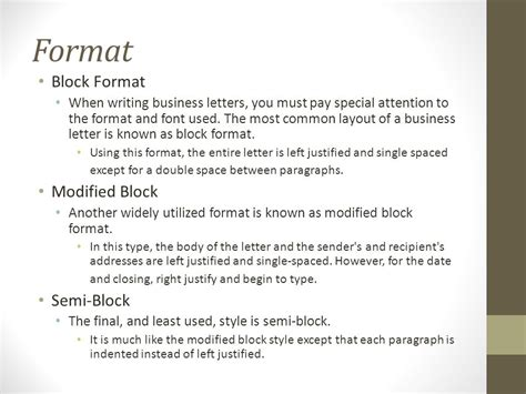 block left business letter format writing the basic business letter ppt