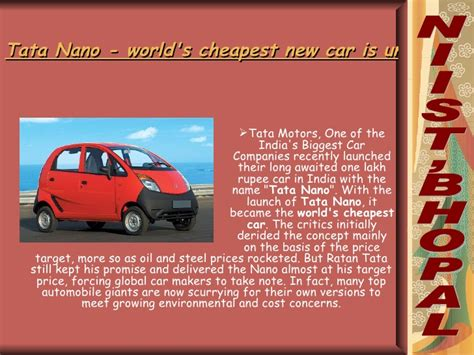 Cheapest Mba Degree In India by Tata Nano Worlds Cheapest New Car Is Unveiled In India