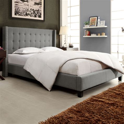 wingback platform bed inspire q marion grey linen nailhead wingback king sized