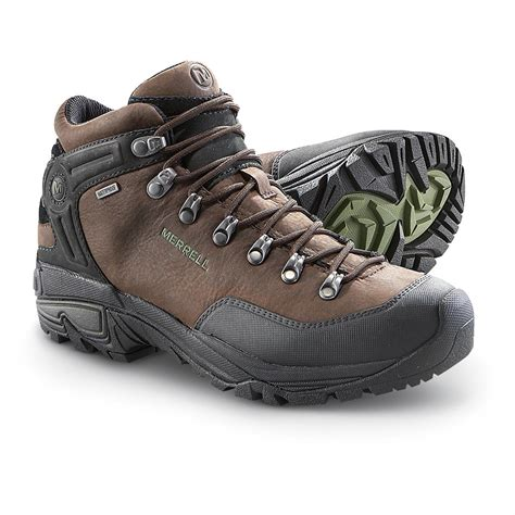 mens mid hiking boots s merrell 174 6 quot waterproof col mid hiking boots coffee