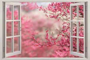 Cherry blossom 3d window view decal wall sticker home