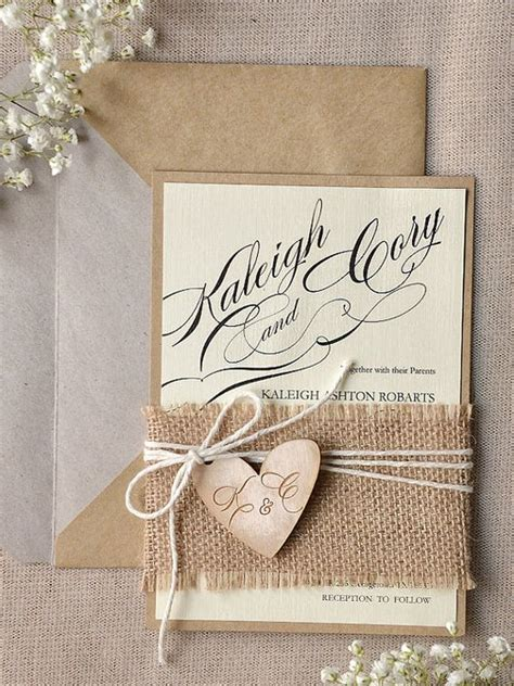 rustic themed wedding invitations 22 burlap wedding invitation ideas weddingomania