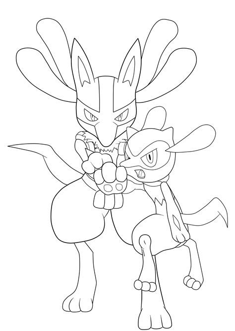 pokemon coloring pages riolu lucario and riolu aura sphere lineart by jamalc157 on