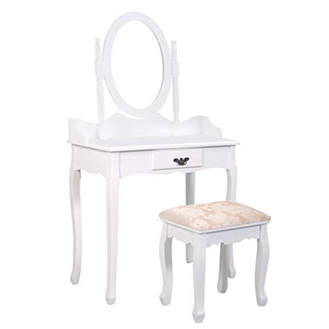 White Vanity Desk With Drawers Giantex White Vanity Wood Makeup Dressing Table Stool Set Jewelry Desk