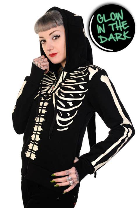 Hoodie Skeleton Zalfa Clothing banned apparel glow in the skeleton hoodie 117545