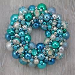 aqua and pale blue christmas ornament wreath with vintage