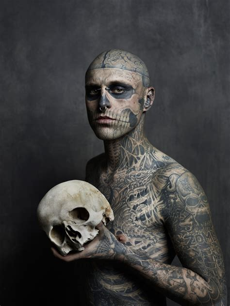 man with full body zombie tattoo joey l nyc based photographer and director