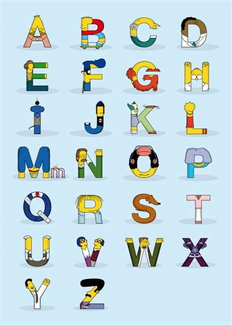 typography characters iconic typography the simpsons alphabet