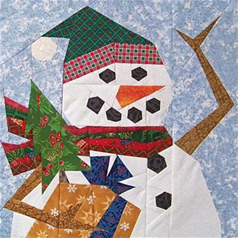 paper panache paper pieced holiday snowman quilt pattern