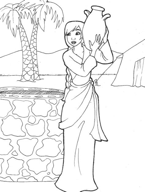 isaak and well coloring coloring pages