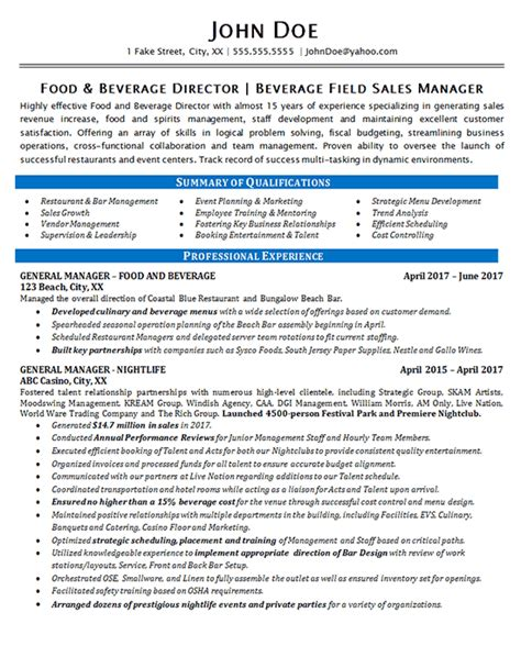 Beverage Director Sle Resume by Food Beverage Manager Resume Exle Restaurant Bar Sales