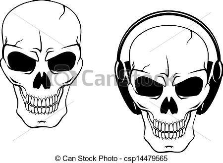 clip art vector of danger skull in headphones isolated on