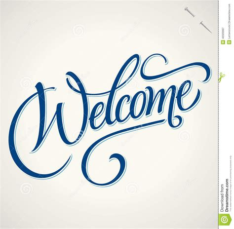 Handmade Lettering - welcome lettering vector stock vector image 40320997