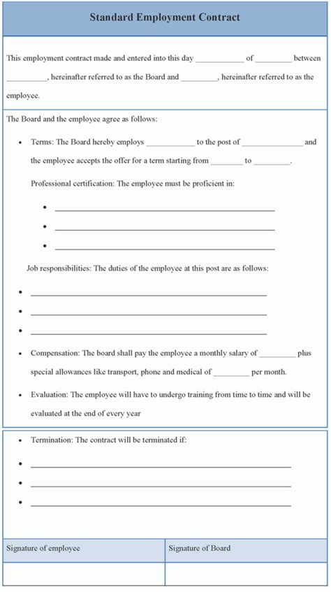 contract template for standard employment template of
