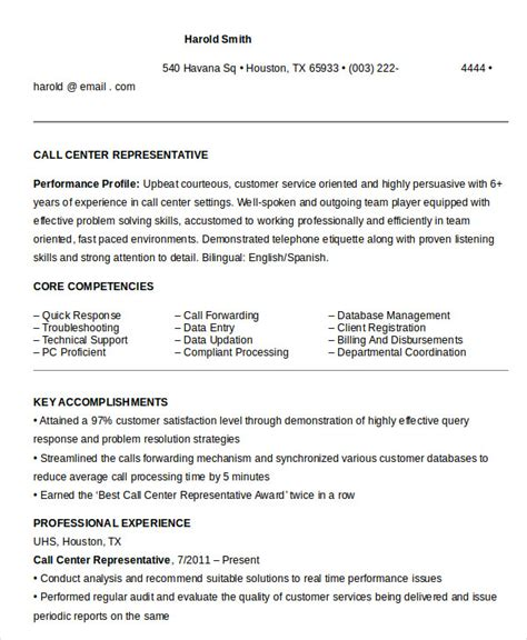resume templates call center call center resume exle 9 free word pdf documents free premium templates