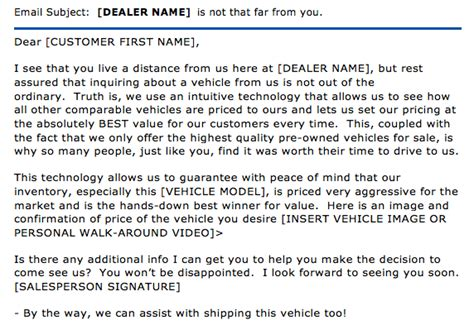 helpdesk email template sles ask the experts out of market used car lead follow up