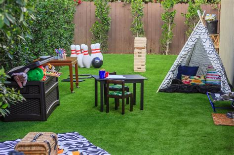 kid friendly backyard 8 budget friendly diys for your deck or patio hgtv s