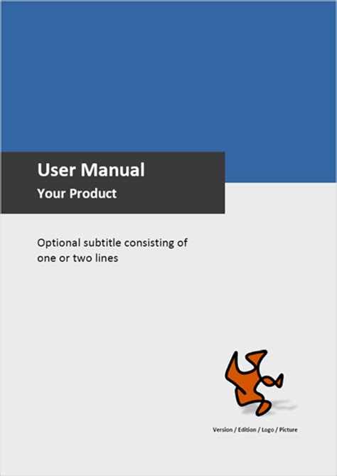 manual cover template template for user manuals sle pages exles