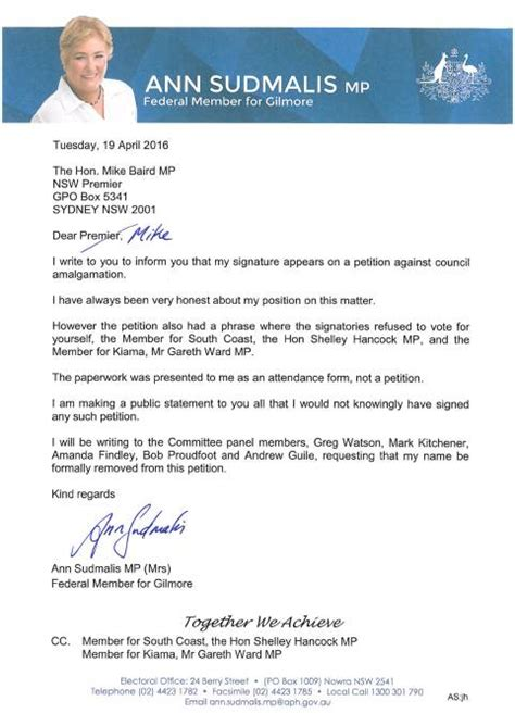 Petition Letter To Oust She S Signed Own Warrant Sudmalis Illawarra Mercury
