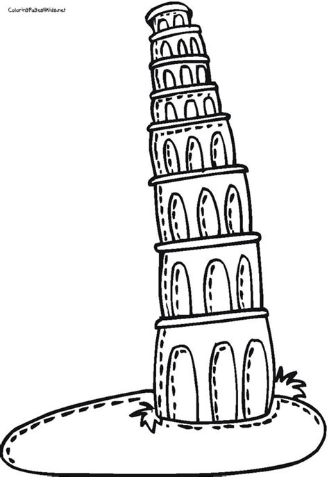 Leaning Tower Of Pisa Drawing Clipart Best Leaning Tower Of Pisa Coloring Page
