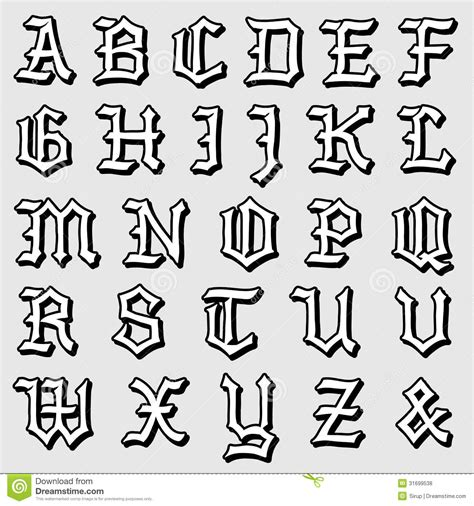 Doodle Vector Of A Complete Gothic Alphabet Royalty Free Stock Photos   Image: 31699538