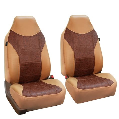 brown leather car seat covers faux leather brown car seat cover set headrests floor