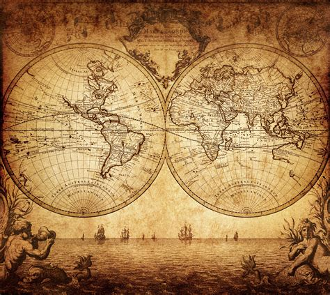 Self Stick Wall Murals vintage map of the world 1733 custom wallpaper