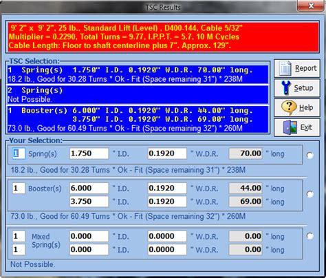 Torsion Spring Calculator For Overhead Doors Sarotech Inc Garage Door Torsion Calculator
