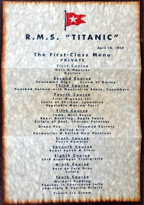 titanic second class menu titanic 100 years of titanic from the daily mirror