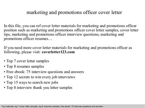 Marketing Promotion Cover Letter Marketing And Promotions Officer Cover Letter