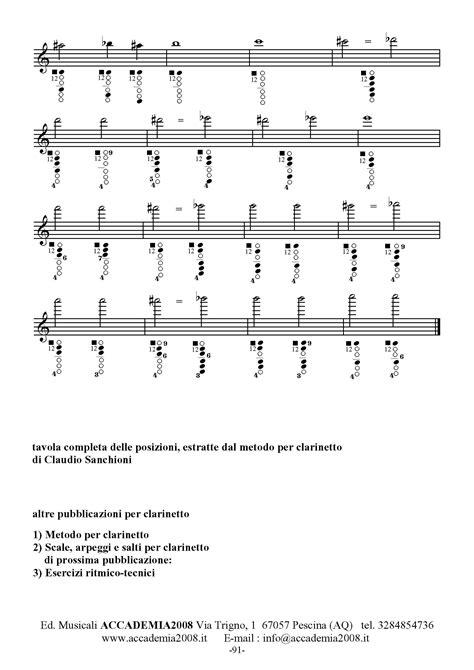 tavola posizioni clarinetto tavola completa posizioni clarinetto boehm claudio sanchioni