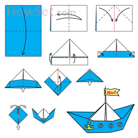How To Make A Paper Ship - boat animated origami