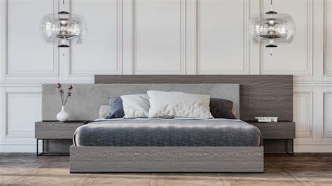 nova domus enzo italian modern grey oak fabric bed