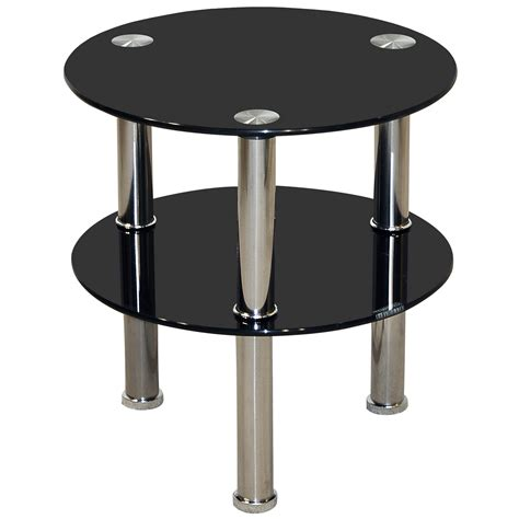 Small Black Glass Coffee Table Chrome Glass End L Small Side Coffee Table Black Clear Ebay
