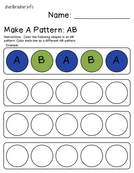 pattern for kindergarten preschool printables make a pattern ab this