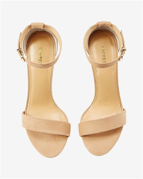 thick heeled sandals lyst express faux suede thick heeled sandal in