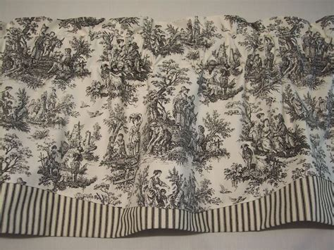 Waverly Toile Curtains with New Black On White Waverly Rustic Toile Striped Ticking Trim Valance